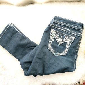 Miss Me Bejeweled Pocket Skinny Jeans, Sz 28